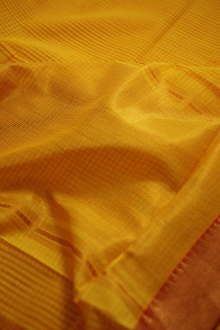 Yellow with Red Handwoven Mangalagiri Cotton Saree