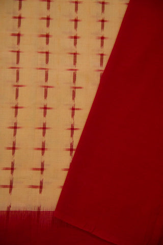 Off White with Red double Ikat Cotton Saree