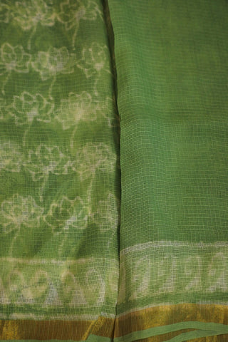 Subdued Greyish Green Smudged Block Printed Kota Silk Saree