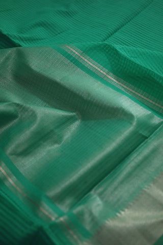 Foam Green with Silver Border Mangalagiri Cotton Saree
