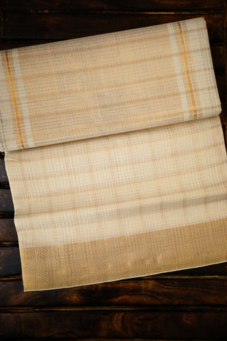 Off White Zari Checks Handwoven Mangalagiri Cotton Saree