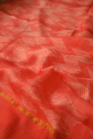 White with Orangish Peach Shibori Kota Silk Saree