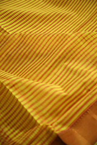 Yellow with Pink Lines Handwoven Mangalagiri Cotton Saree