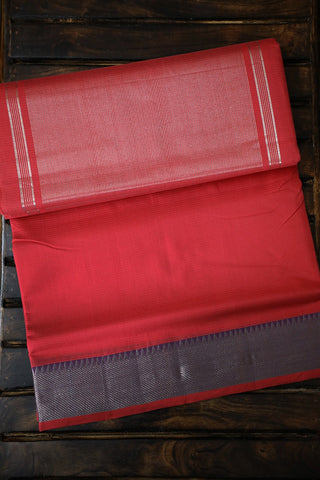 Peach with Purple Temple Border Mangalagiri Cotton Saree