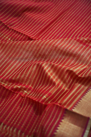 Pink with Yellow Lines Handwoven Mangalagiri Cotton Saree