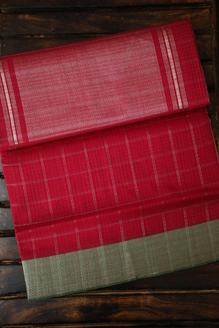 Green Zari Border with Silver Checks Mangalagiri Cotton Saree