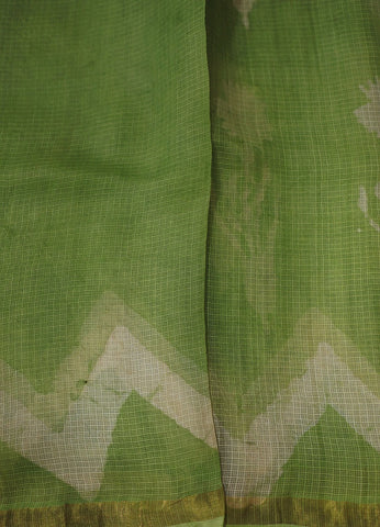 Light Subdued Pastel Creamish Green Block Printed Kota Silk Saree