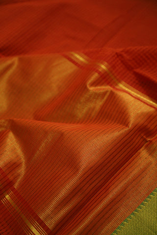 Orangish Red with Green Handwoven Mangalagiri Cotton Saree
