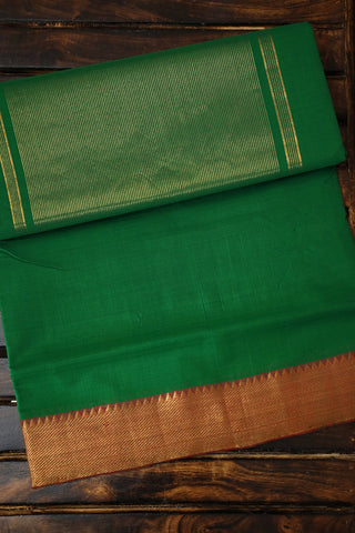 Green with Maroon Temple Border Mangalagiri Cotton Saree