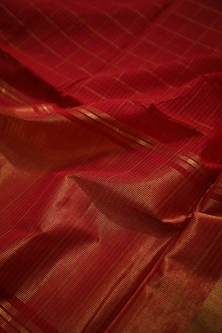 Red Big Zari Checks Handwoven Mangalagiri Cotton Saree