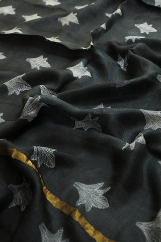 Black with Greyish White Shibori Kota Silk Saree