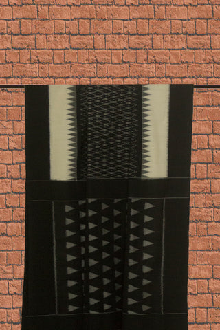 Black Diamond with Off White Handwoven Ikat Cotton Saree