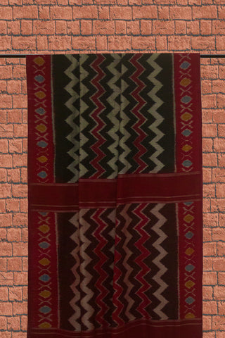 Maroon with Black Zig Zag Handwoven Ikat Cotton Saree