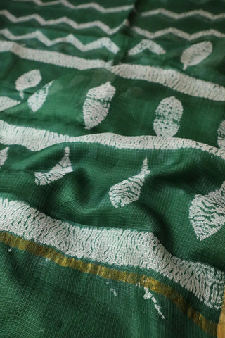 Green Shibori Block Printed Kota Silk Saree
