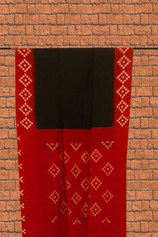 Plain Black with Red Border Handwoven Ikat Cotton Saree