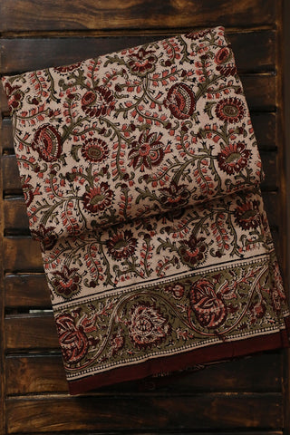 Peach with Maroon Floral Block Printed Kalamkari Saree