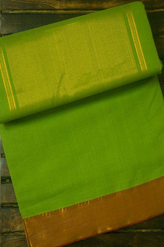 Pista Green with Brown Missing weave Mangalagiri Cotton Saree