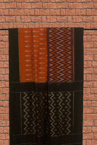 Double Shade Orange Mercerized Handwoven Ikat Cotton Saree
