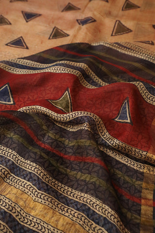 Maroon Lines with Triangle Block Printed Kota Silk Saree
