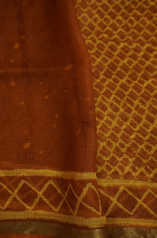 Honey Brown with Yellow Block Printed Kota Silk Saree