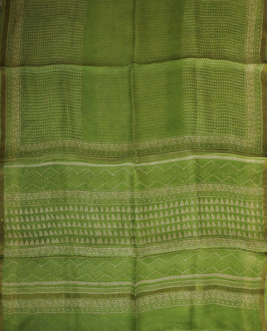 Light Green Block Printed Kota Silk Saree