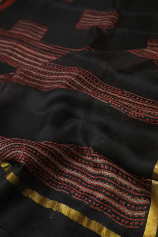 Black with Maroon Block Printed Kota Silk Saree