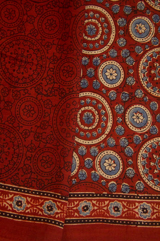 Maroon with Beige Circles Block Printed Ajrak Mul Cotton Saree