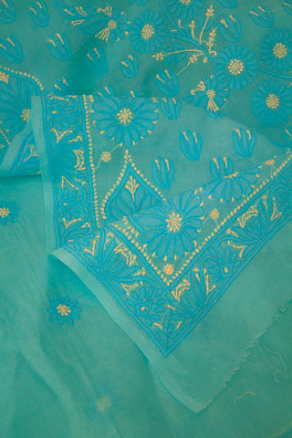 Light Sky Blue Shadow work Chikankari Cotton Saree with Blouse