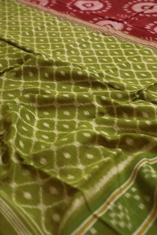 Maroon with Green Temple Border Orissa Ikat Saree