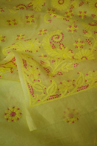 Light Yellow Shadow work Chikankari Cotton Saree with Blouse