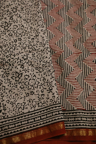 Maroon with Black Zig Zag Bagru Print Chanderi Saree