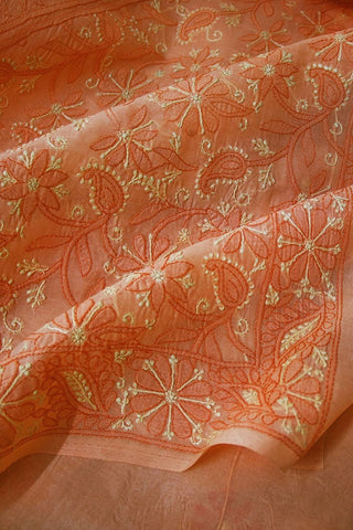 Light Orange Shadow work Chikankari Cotton Saree with Blouse