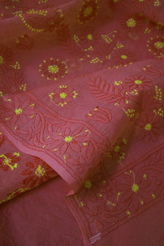 Flower Shadow work Chikankari Cotton Saree with Blouse