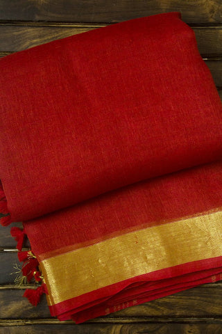 Red with Golden Zari Border Handwoven Linen Saree