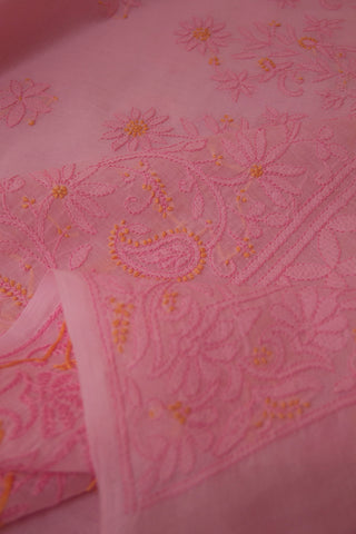 Baby Pink  Shadow work Chikankari Cotton Saree with Blouse