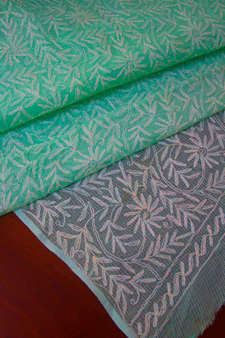 Light Green Chikan Work Kota Saree