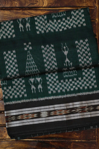 Dark Green with Black Handwoven Orissa Ikat Saree