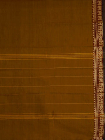 Peacock Border in Yellowish Brown Kanchi Cotton Saree