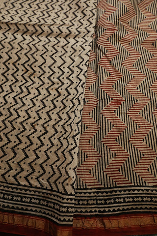 Beige with Black Zig Zag Bagru Print Chanderi Saree