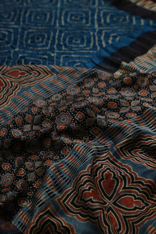 Diamonds in blue - Ajrak Bandhani Gajji Silk Saree
