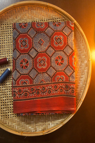 Maroon with Faded Indigo Block Printed Ajrak Mul Cotton Saree