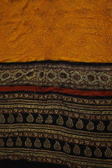 Yellow Ajrak Bandhani Gajji Silk Saree