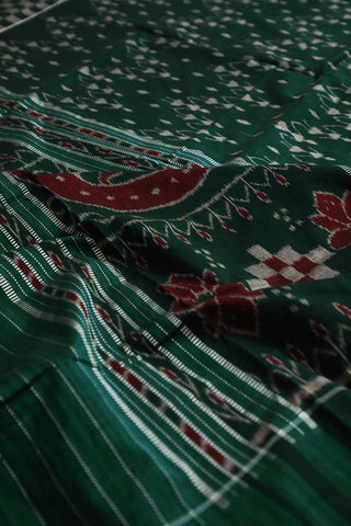 Dark Green Warli Design Handwoven Orissa Ikat Saree