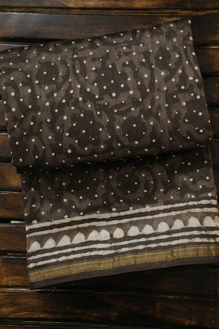 Grey Floral with Off White Dots Dabu Print Chanderi Saree