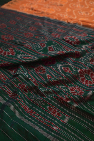 Orangish Brown Handwoven Orissa Ikat Saree