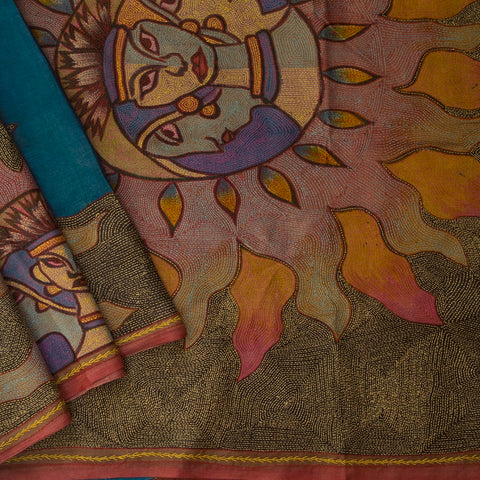 Blue Hand Painted Kantha Embroidered Tussar Silk Saree