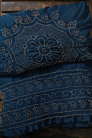 Blue with Subdued Maroon Ajrak Bandhani Gajji Silk Saree