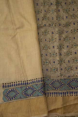Cream with Blue Geeometric Patterrn Kantha Tussar Silk Saree