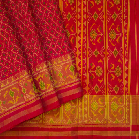 Pink with Green Checks Handwoven Patola Ikat Saree