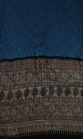 Blue with Dotted Square Ajrak Bandhani Gajji Silk Saree
